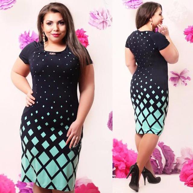 Women Office Work Green Floral Print 5xl 6xl Dress
