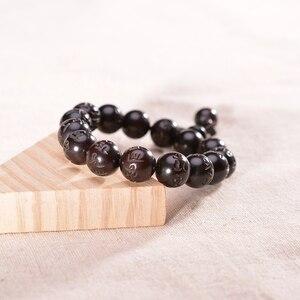 Image 5 - Buddhist Rosary Wood Beads Bracelets Om Mani Padme Hum Mantra Wooden Fish Tibetan Buddhism Mala Yoga Prayer Beads for Men Women