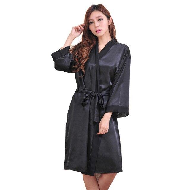 Vente chaude Noir Femmes Rayonne de Mousseline de Soie Kimono Robe Sexy  Casual Robe Robe Chemise a66e746a7e1