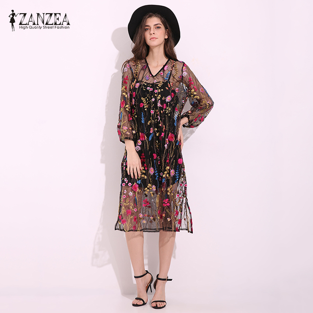 9b31471af107 US $27.12 |ZANZEA Women Fashion Floral Embroidery Sexy See Through Loose  Dress Puff Sleeve Elegant Lace Up Dresses Vestidos Plus Size on ...