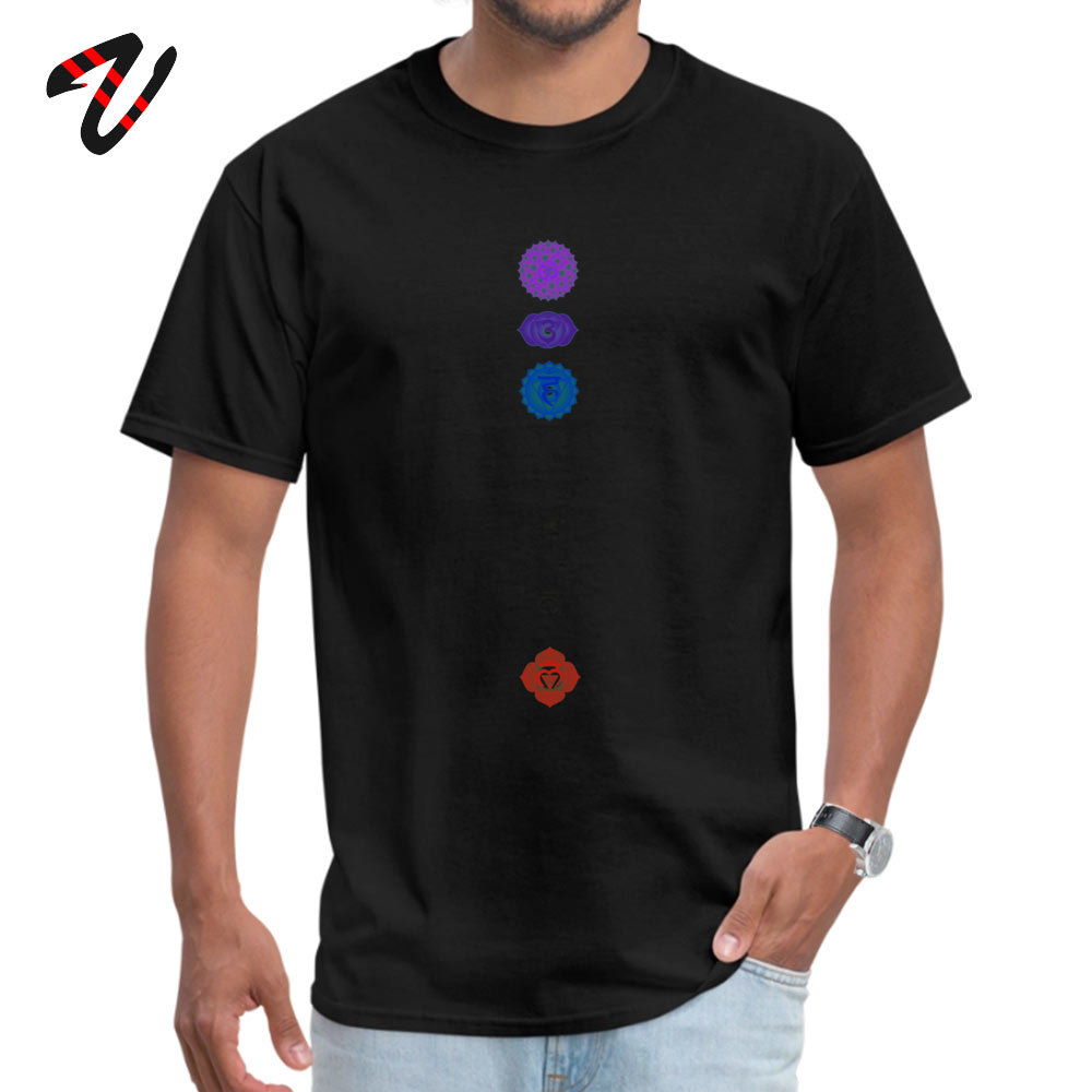 100% Cotton Fabric Men Short Sleeve Chakra spiritual meditation T Shirts Print T Shirt High Quality Summer Crewneck T Shirts 7 Chakra spiritual meditation 4718 black