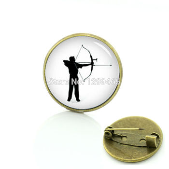 Sports archer silhouette decoration pin Steam Punk archery brooches Wholesale casual sport Charms ball fans badge men women T521 image