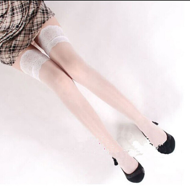 Women Ladies Sexy Lace Top Sheer Stay Up Thigh High Stockings Pantyhose Women Clothes 2017
