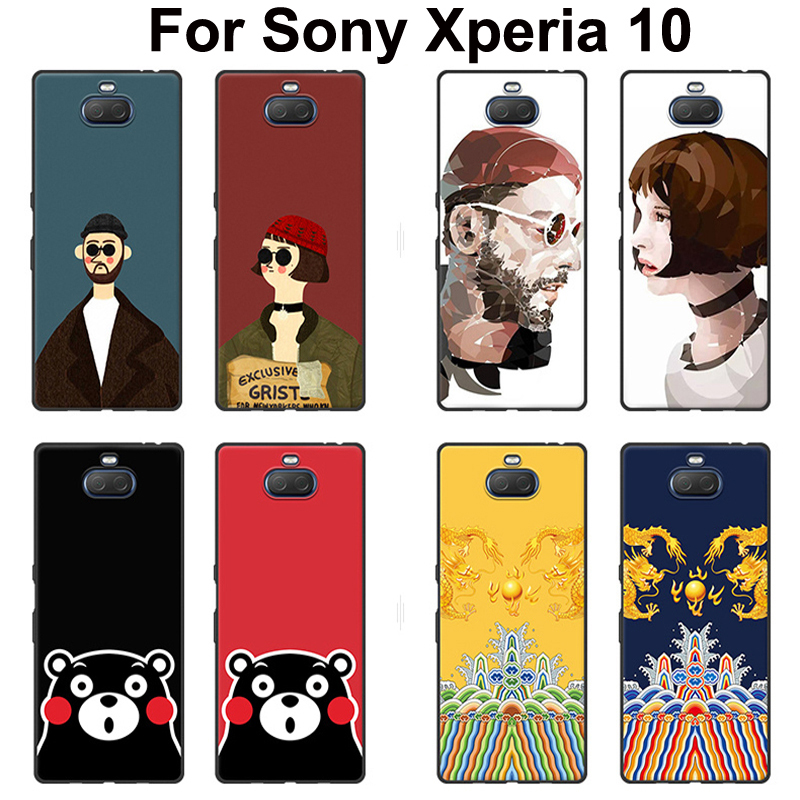 For <font><b>Sony</b></font> <font><b>Xperia10</b></font> <font><b>Case</b></font> back cover Painted Leon killer cartoon soft Silicone phone <font><b>case</b></font> For <font><b>Sony</b></font> Xperia 10 i4193 coque shell 6.0