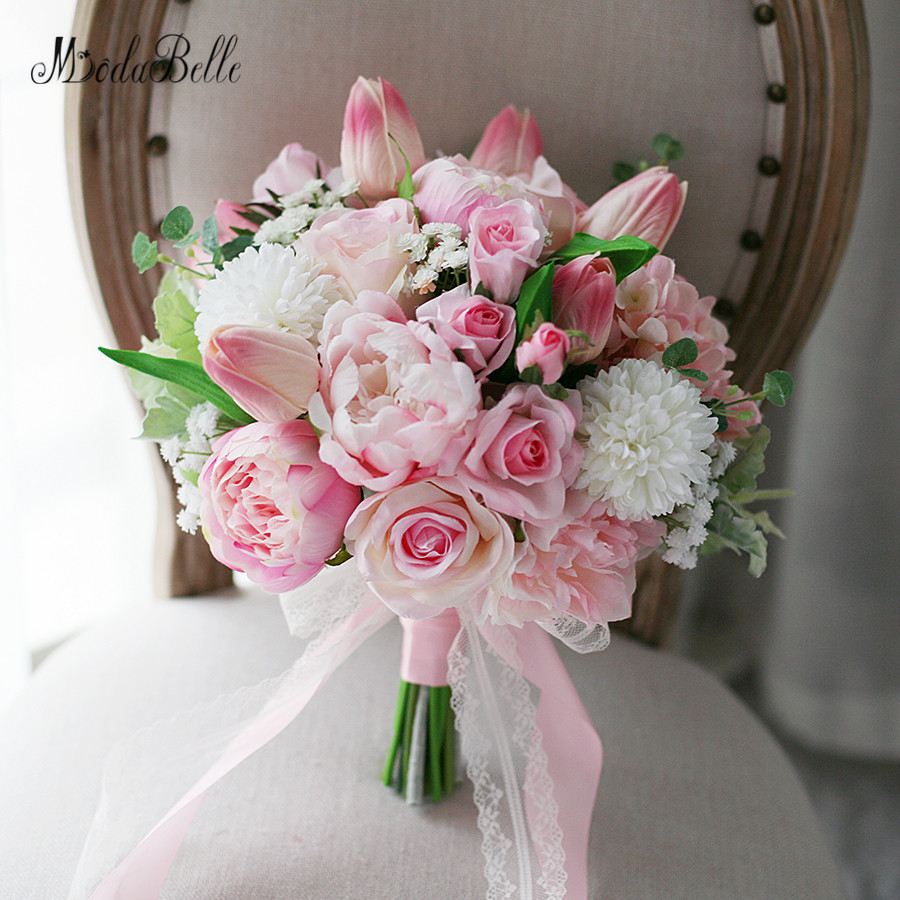 New Light Pink Artificial Flowers Wedding Bouquet For Bride Buque De