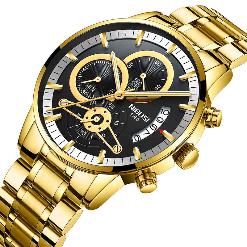 NIBOSI Relogio Masculino Watch Men Gold And Black Mens Watches Top Brand Luxury Sports Watches 2019 Reloj Hombre WaterproofNIBOSI Relogio Masculino Watch Men Gold And Black Mens Watches Top Brand Luxury Sports Watches 2019 Reloj Hombre Waterproof