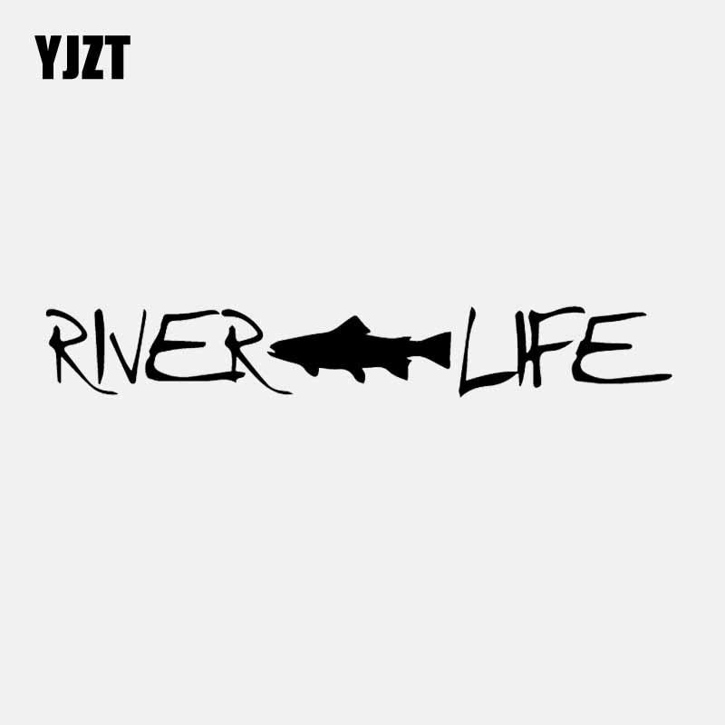 YJZT 18.3CM*2.7CM Fly Fishing River Life Trout Fishing Car Sticker Vinyl Decal Black/Silver C24-0992
