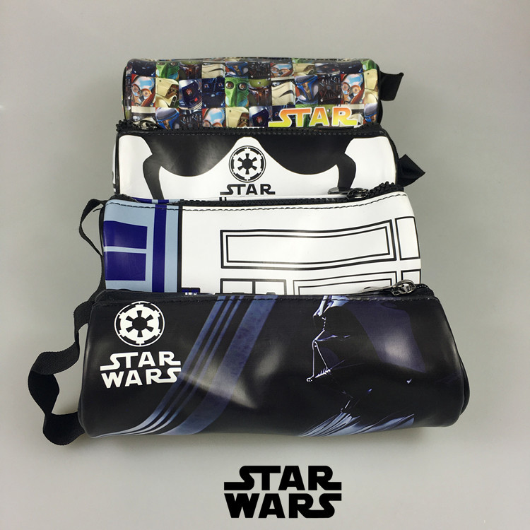 four beautiful star wars pencil cases in four different designs and colors with r2d2 and stormtrooper