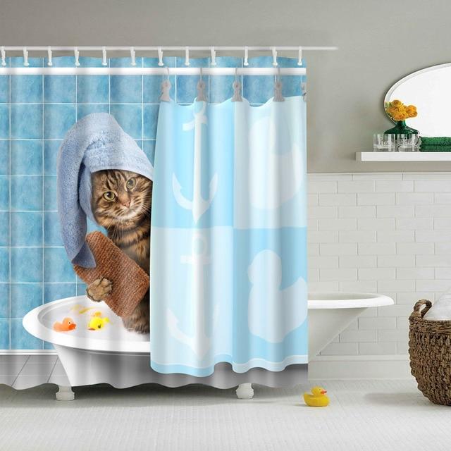 Hot Selling New Claws Cat Blue Sea Shower Curtains Custom Design Creative Curtain Bathroom Waterproof