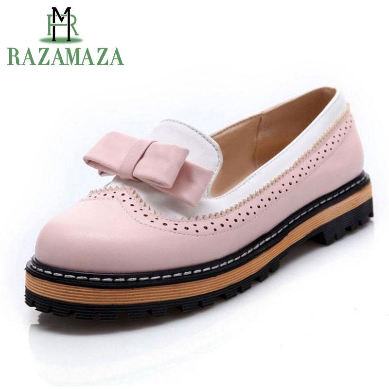 RAZAMAZA tamaño grande 32-43 primavera otoño deslizamiento en las mujeres zapatos Bowtie lindo encaje boca baja Plataforma de las señoras zapatos