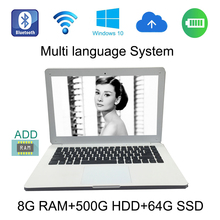 windows 10 system 13.3 inch laptop 8G ram 500GHDD and 64gSSD built in camera with Expandable hard drive send mouse