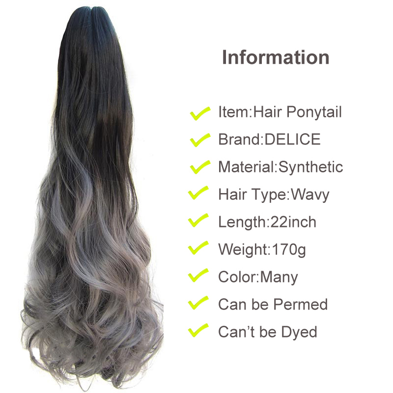 Delice 22inch Kvinnors Färgglada Ombre Vågig Hästsvans Svart Grå - Syntetiskt hår - Foto 2