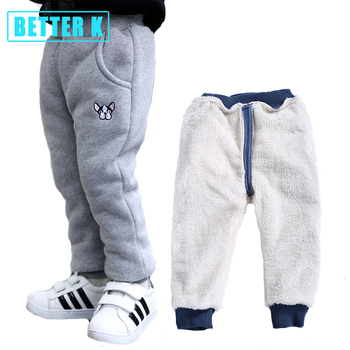 цена Baby Boys Pants Winter Fashion Cotton Pants Newborn Plus Velvet Thickening Girls Clothes 12M-4T Cotton Warm Boy Pants For Kids онлайн в 2017 году