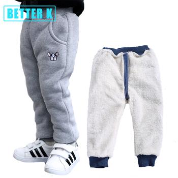 Chłopięce spodnie zimowe modne spodnie bawełniane noworodka Plus aksamitne pogrubienie dziewczęce ubrania 12M-4T bawełniane ciepłe spodnie chłopięce dla dzieci tanie i dobre opinie FCLHDWKK COTTON REGULAR Unisex Kieszenie Pełnej długości Pasuje prawda na wymiar weź swój normalny rozmiar Elastyczny pas