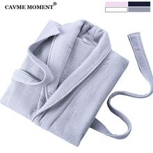 CAVME 2019 Winter Terry Waffle Kimono Robe Men Homme PLUS SIZE Long Bathrobe Thicken Turn-down Collar Unisex Sleepwear CUSTOM