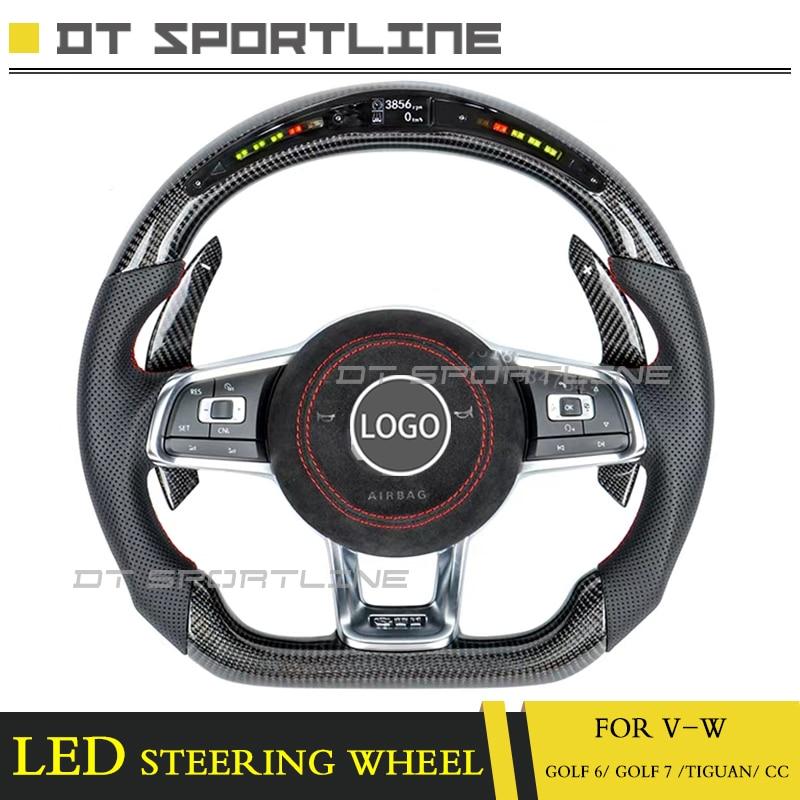 Led cache de volant Pour VW golf 6 Remplacement directeur de golf 7 tiguan cc carbone fibre led racing cache de volant boutons airbag