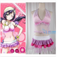 Anime hot love live toujou nozomi cosplay lolita do punk visual kei k-on meninas kawaii dress swimwear bikini conjunto
