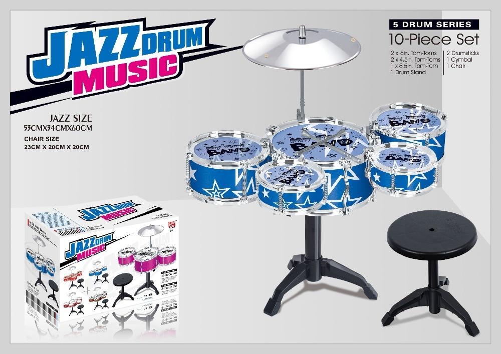 Naujas atvykimas 10vnt. Serijos būgno rinkiniai žaislai Didelio dydžio džiazo būgno žaislai + kėdė Drum kit žaislai Tom-tom žaislai Muzikos instrumentas vaikams