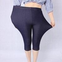 Новое поступление Летний стиль высокое качество Для женщин леггинсы супер эластичные джинсовые мягкие дышащие 5xl Большие размеры Для женщи...
