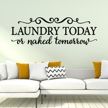 цена на Retro Laundry Text Wall Stickers For Laundry Room Mural Decals Wallpaper Decoration Removable Sticker Wall Decal