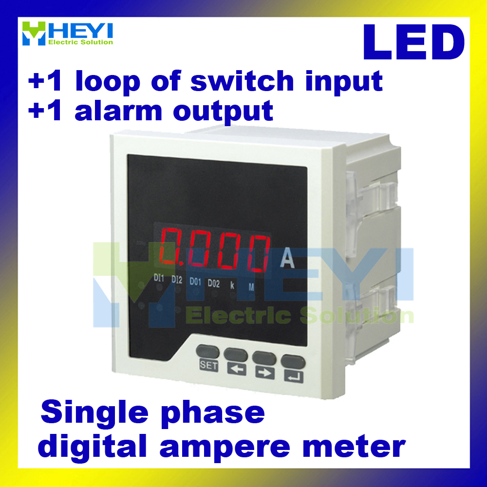 Ampmeter HY-AA square type LED single phase digital ampere meter Class 0.5 with 1 loop of switch input and 1 alarm output me 3h61 72 72mm led display 3 phase digital power factor meter support switch input and transmitting output