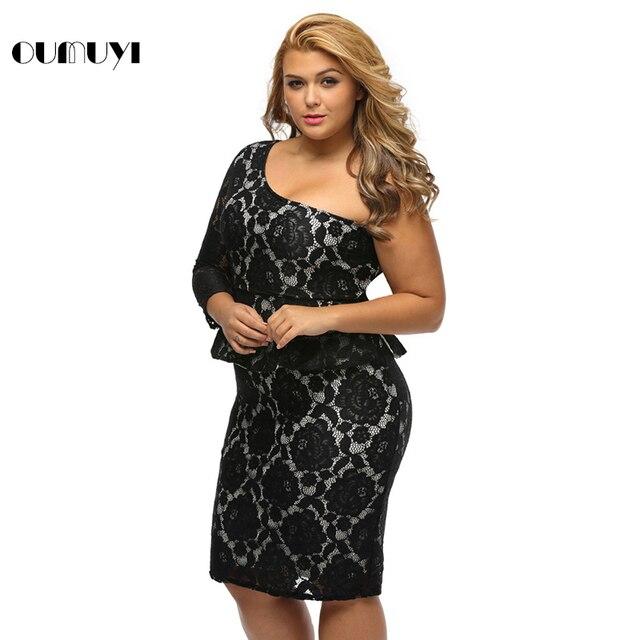 Oumuyi Fashion Big Women Party Plus Size Black Lace Illusion