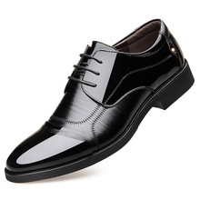 Factory direct luxury low-key men business shoes sewing thread decorative patent leather pointed brand casual single male