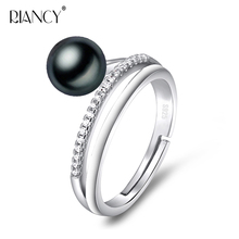 Fashion 925 sterling silver pearl jewelry Natural freshwater black pearl ring white adjustable pearl  ring for women