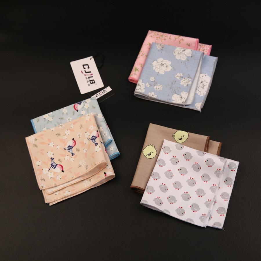 10pcs/lot 32color New Korean Fashion Designer High Quality Mens Casual Pocket Squares Handkerchief Cotton Printed Flower 22x22cm