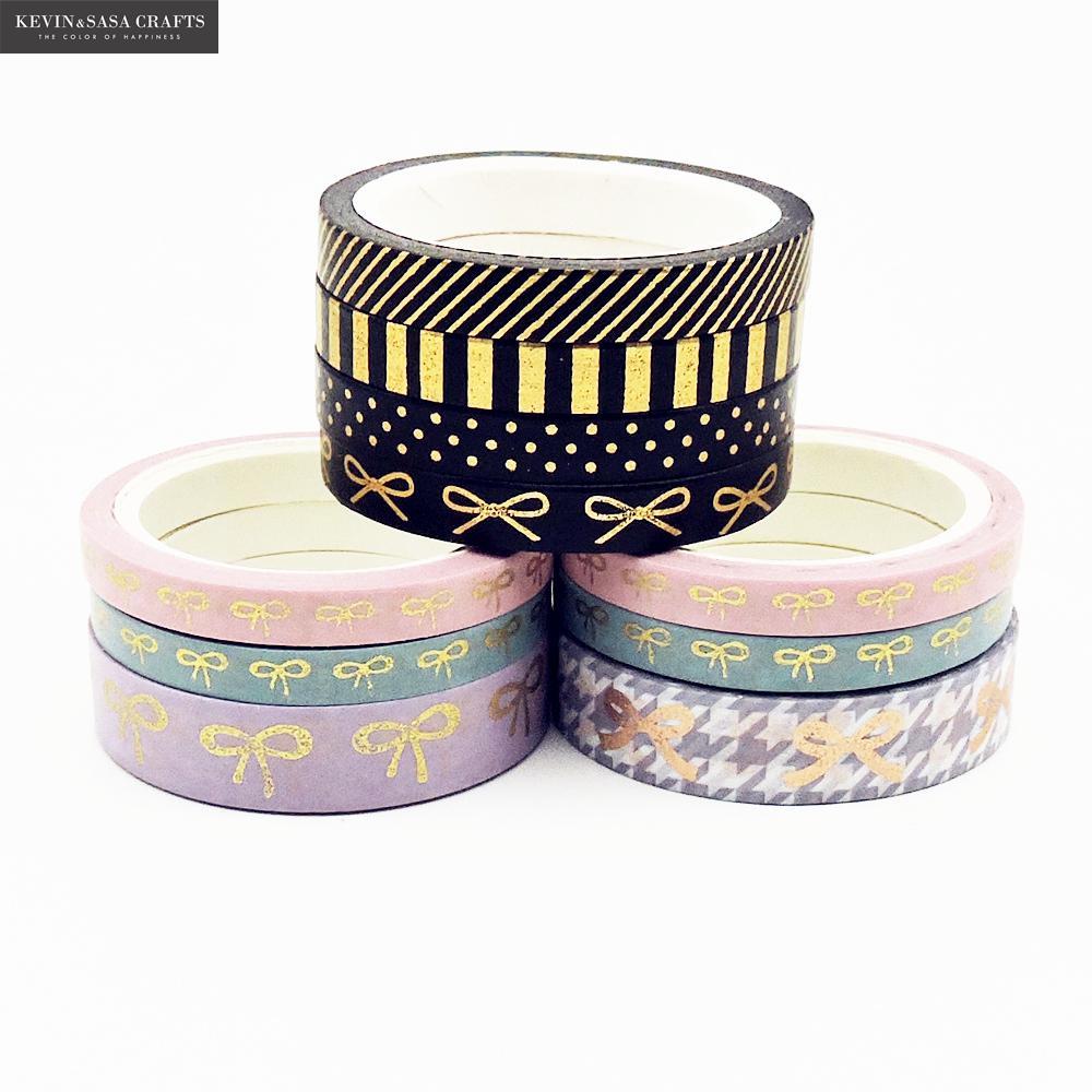 3-4Pcs/Set Bow Foil Washi Tape Quality Stationery Diy Scrapbooking Photo Album School Tools Kawaii Scrapbook Paper Stickers Gift