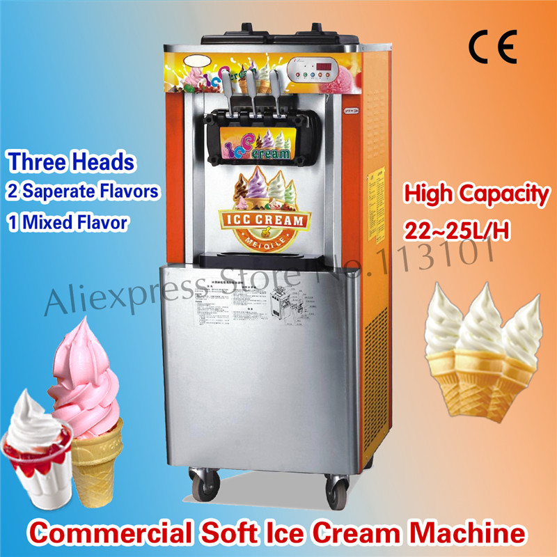 Vertical Soft Serve Ice Cream Maker for Ice Cream Parlor Ice Cream Machine Three Flavors 220V 22~25 liters/H Brand New 30l h commercial soft ice cream making maker machine air cooling 3 flavors china soft serve ice cream maker machine with ce