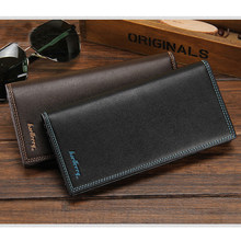 Men Long Wallets Solid Money Bag Purse Fashion Style Card Holder PU Leather Clutch Bag Male Cellphone Pocket Card Holde Purse(China)