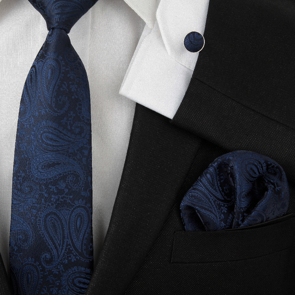 HOOYI 2019 Fashion Neck Tie Set For Men Handkerchief Floral Pocket Square Cuff-links Silk Navy Ties 3 Pcs In 1 Cravate