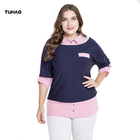 TUHAO High Quality Blouse Top Shirt Plus Size Women S Blouses 3XL 4XL 5XL 2018 Spring