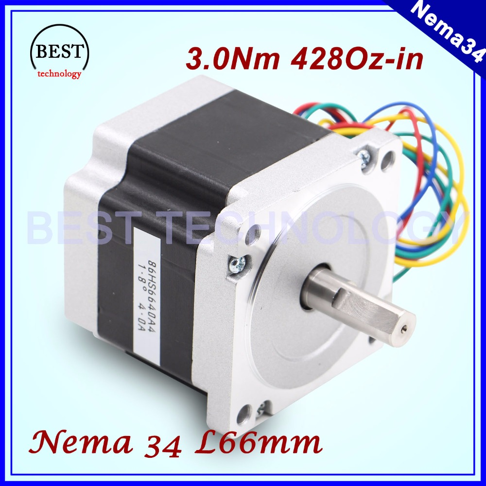 цена на NEMA34 stepper motor 86X66mm 3N.m 4A D14mm stepping motor 428Oz-in Nema 34 for CNC engraving machine and 3D printer!