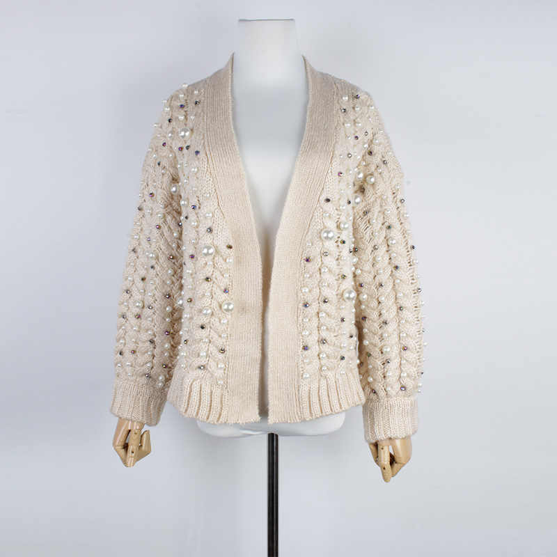 2018 осень зима высокое качество абрикосовый вязаный свитер кардиганы для женщин подиумная дизайнерская Бисероплетение Preals плотные комбинезоны одежда