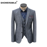 SHOWERSMILE Brand Grey Striped Blazer Mens Vintage Herringbone Suit Jacket With Pockets Spring Autumn British Style Clothing