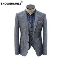 Showersmile бренд серый полосатый пиджак мужской Винтаж елочка костюм куртка с карманами Демисезонный британский стиль Костюмы