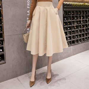 Image 2 - 2019 春のハイウエスト A ラインビッグスイングミディスカート韓国ポケットオフィスレディエレガントな女性スカートペチコートファムファルダ