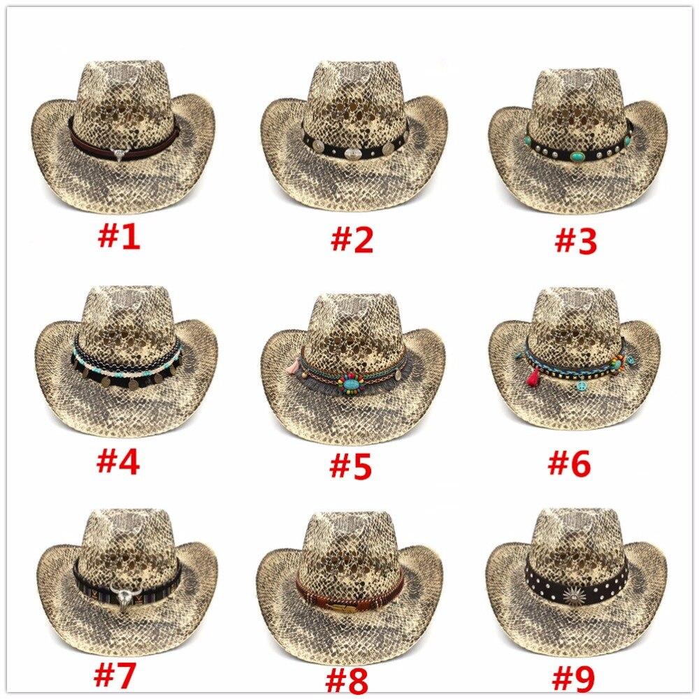 Men's Sun Hats Obliging Women Men Hollow Western Sun Hat Handmade Weave Straw Lady Dad Sombrero Hombre Cowboy Jazz Caps Bull Head Band Size 56-58cm