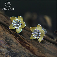 Lotus весело Настоящее стерлингового серебра 925 природных творческий ручной Красивые ювелирные изделия Винтаж свежие цветы Серьги-гвоздики для Для женщин brincos