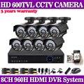 8CH DVR security camera video system 8 channel HD 960H recording DVR 600TVL indoor outdoor Cameras 8CH CCTV surveillance kit