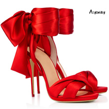 Aiyoway Women Shoes Peep Toe High Heels Sandals Spring Summer Ladies Wedding Party Lace Up Black Red Satin 2019