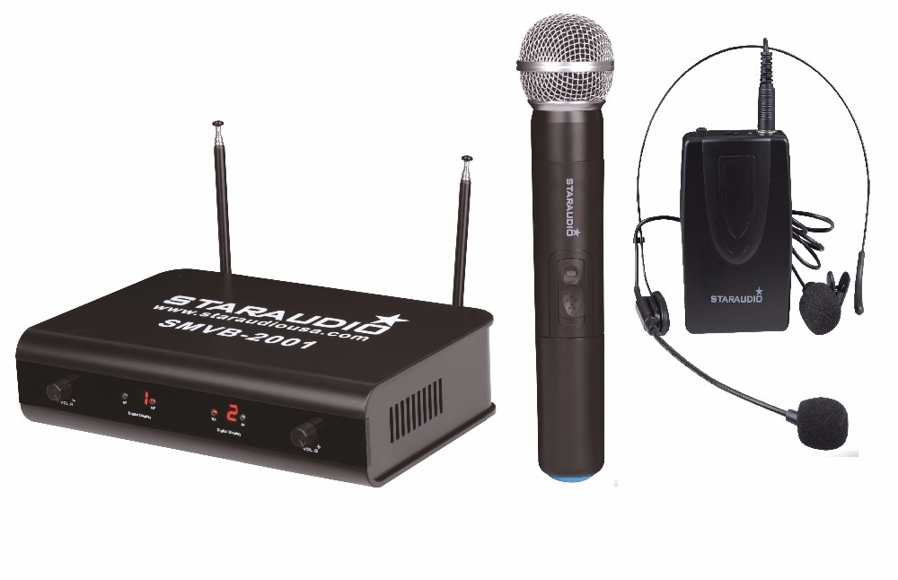 STARAUDIO SMVB-2001A+B Pro Wireless VHF 2CH Dual Handheld and Headset Microphone System Mic for Stage Church Home Party