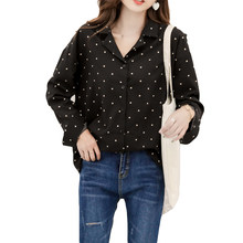 0a2b8b3c7d7 Plus Size Autumn Women Shirts Polka Dot Print Full Sleeve Chiffon Han Fan  Blouse Shirt Red Black 6063