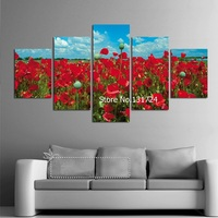 5Panel Big HD Printed Canvas Painting Poppy Flowers Posters Modular Wall Pictures For Living Room Modern