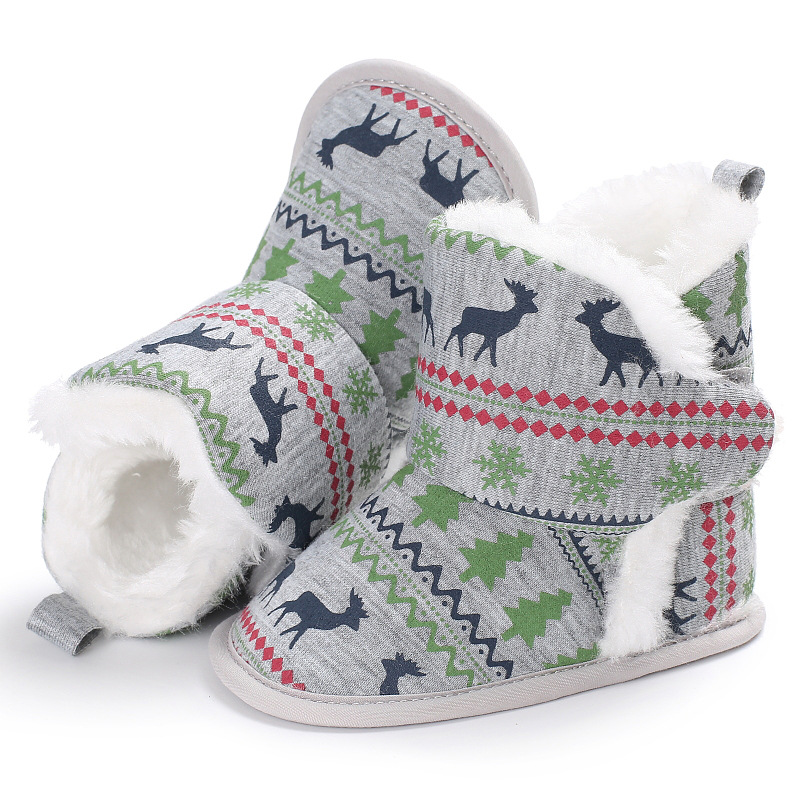 Snowflake Deer Winter Super Warm Newborn Baby Girls First Walkers Shoes Infant Toddler Soft Rubber Soled Anti Slip Boots Booties