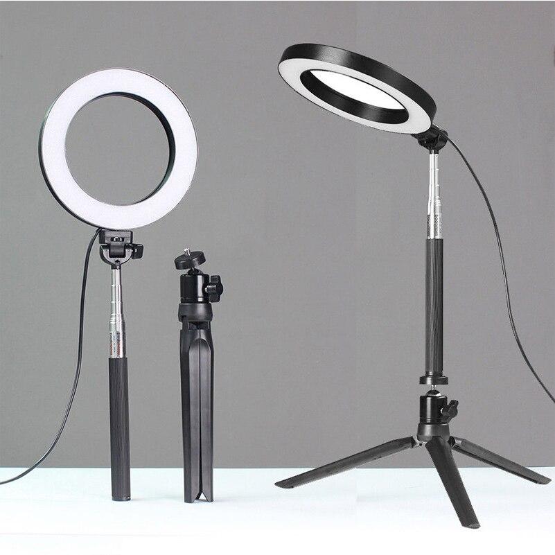 Cep telefonları ve Telekomünikasyon Ürünleri'ten Cep Telefonu Objektifleri'de 16/26cm LED halka ışık standı 5500K kısılabilir kamera telefon fotoğrafçılığı Video canlı makyaj LED lamba dolgu ışığı kiti ile masa Tripod title=