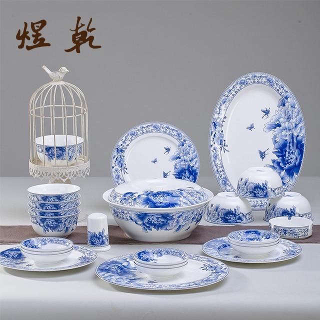 Yuqian Chinese Style Ceramics Kitchen Dinnerware 56 PCs 45% Bone China Chinese Porcelain Elegant Wedding & Yuqian Chinese Style Ceramics Kitchen Dinnerware 56 PCs 45% Bone ...
