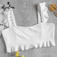 AZULINA Frilly Crop Tank Top Summer White Sweetheart Neck Ruffles Cropped Top 2018 Casual Sweet Women Tops Ladies Clothes S M